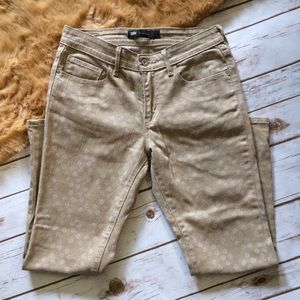 Levis Mid Rise Skinny Ankle Tan dot Pattern Jeans